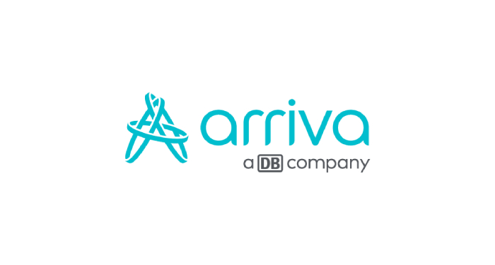Arriva company name written in lithe blue with an illustrated letter A composed of 3 circles