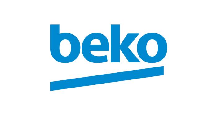 Logo of company beko written in blue letters
