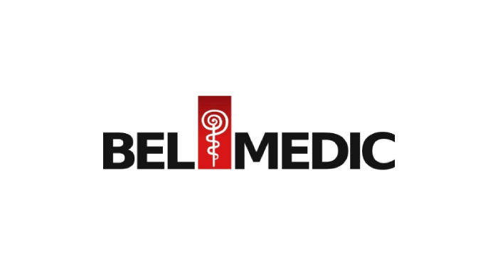 Logo of a big Serbian hospital BelMedic written in black letters with a logo of medicine in a red square