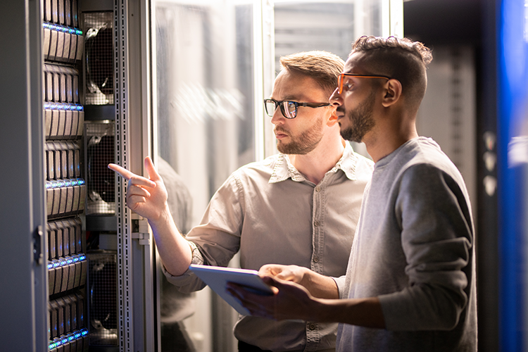 Two engineers protecting data on physical servers
