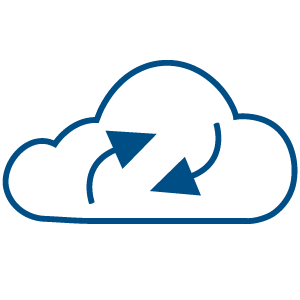 Illustration of a cloud in witch there are two arrows representing virtual backup