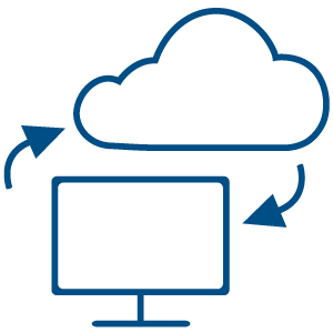 Illustration of a desktop being backed up in a cloud