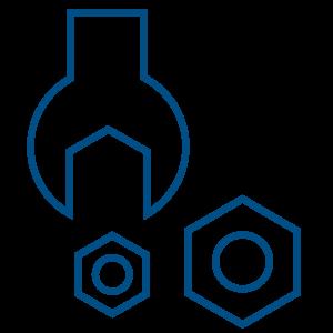 Illustration of blue tools that represent a custom backup