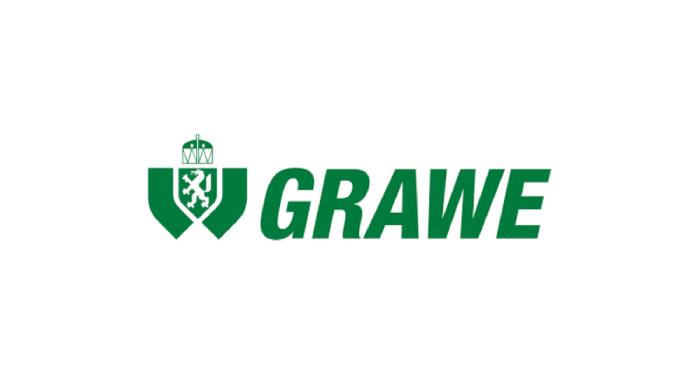 Insurance company logo Grawe written in green letters