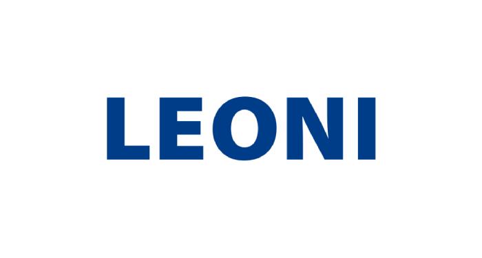 In capital blue letters written a word LEONI