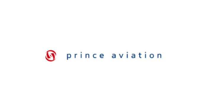 Logo of prince aviation written in dark grey letters