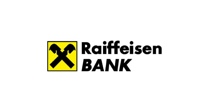 Logo of Raiffaisen Bank written in black letters