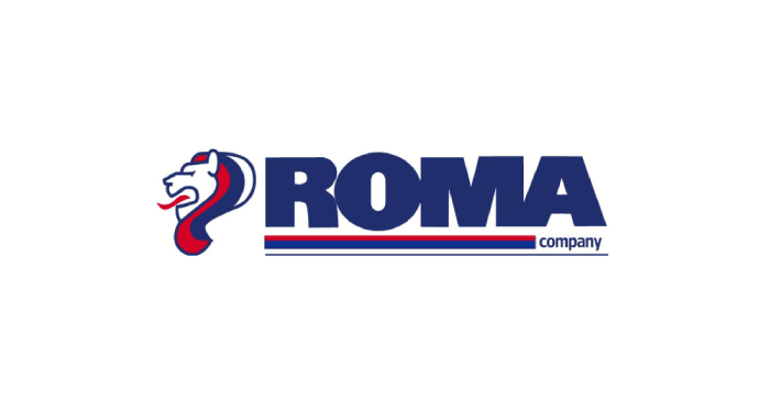 Logo of ROMA company written in dark blue letters with a lion head next to it