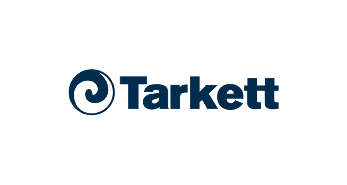 Tarkett written in dark blue letters with a circle next to it in half blue half white colors