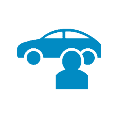 Illustration of a blue car and a man figure standing in fron of it
