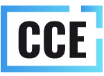 Blue rectangle with black letters CCE inside it